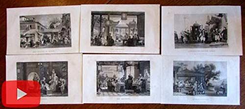China Asia lot x 6 engraved prints 1861 fine views scenes Canton Tea Food dining