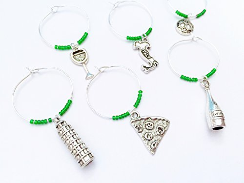Italy Wine Charms, Gift for Italian and those who love Italy. Includes Pizza, Italy charm, Leaning Tower of Pisa, Soccer. Set of 6. GREEN BEADS. - Italy Love Italian