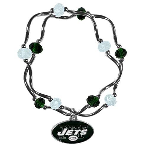 Siskiyou NFL New York Jets Womens Crystal Bead Bracelet (Jet Stretch Bracelet)