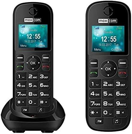MaxCom MM35D - Teléfono (Teléfono DECT, Terminal inalámbrico, Altavoz, 500 entradas, Negro)