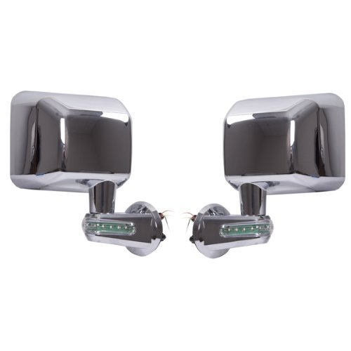 Rugged Ridge 11010.16 Chrome Driver Side View Mirror Kit with LED Turn Signal Indicator - Pair [並行輸入品] B01I09APEI