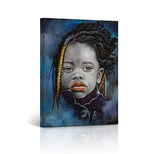 - Buy4Wall African Wall Art Canvas Print Little Kid Impressive Look in Black Orange and Blue Oil Painting Art Home Decor Artwork Stretched and Framed - Ready to Hang -%100 Handmade in The USA 12x8