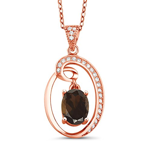 Gem Stone King 1.50 Ct Oval Dangling Brown Smoky Quartz 18K Rose Gold Plated Silver Pendant ()