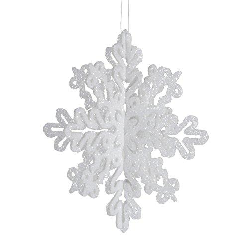 - Darice 1629-53 4-Piece 3-D Snowflake Ornament, 4-Inch, White