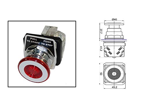 (RADWELL VERIFIED SUBSTITUTE 52PA2G2A-SUB Replacement of Siemens 52PA2G2A, Push Button - 30MM Emergency Stop, Metal Bezel, Push-Pull, 1NC)