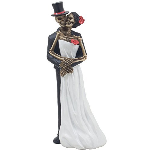 Spooky Skeleton Bride and Groom Wedding Couple Statue for Halloween Party Decorations or Scary Gothic Décor Figurines As Wedding Gifts for Couples -