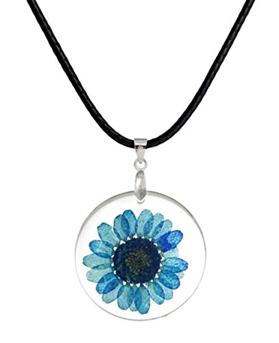 stylesilove Womens Pressed Natural Daisy Flower Resin Pendant Necklace (White with Leather Rope) (White with Leather Rope) (Blue with Leather Rope)