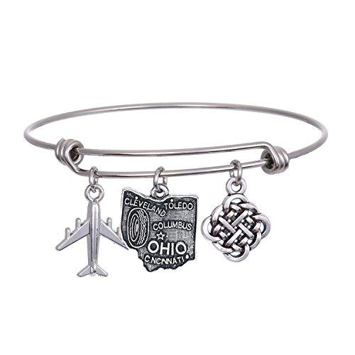 JJTZX State Bangle U.S. Map Charm Expandable Travel Bracelet Long Distance Relationship Gift Best Friends Bracelet (Ohio) ()