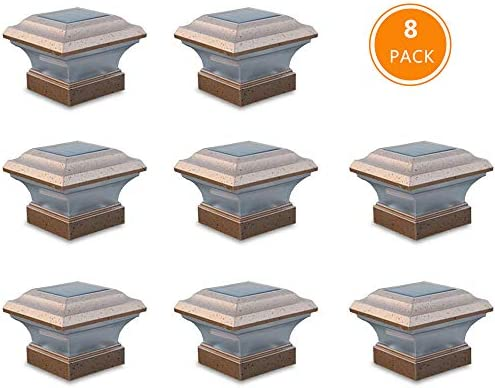 Solar Post Lights Waterproof Outdoor Cap Lights for 4 x 4 Wooden Post, Deck, Patio, Garden, Decor or Fence White LED Lights, 8-Pack