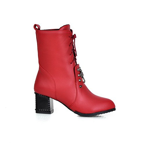 AmoonyFashion Womens Soft Material Lace-up Pointed Closed Toe Kitten-Heels Low-Top Boots Red enZVP