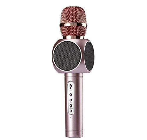 Wireless Bluetooth Karaoke Microphone, Dual Speaker, Portable Handheld Home Party for Karaoke Speakers (Rose Gold) for Android/iPhone/Computer or All Smart Phones