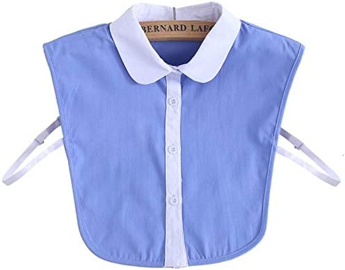 Collar de camisa para mujer de moda, simple blusa desmontable media camisa azul blanco color de contraste cuello falso: Amazon.es: Hogar
