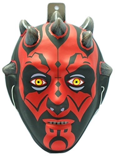 [Darth Maul Star Wars Plastic Mask Black Red Halloween Child Costume Accessory] (Child Darth Maul Costumes)