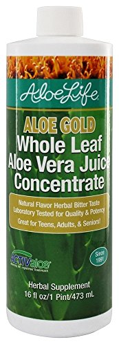 Aloe Life - Aloe Gold Whole Leaf Juice Concentrate, Supports Occasional Indigestion, Bloating, Regularity, Energy and Optimum Health (16 oz)