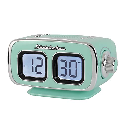 Large Display LCD AM/FM Retro Clock Radio USB Bluetooth Aux-in Bedroom Kitchen Counter Small Footprint (Teal) (Retro Alarm Clock Radio)