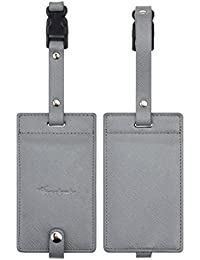 Synethic Leather Luggage Tags & Bag Tags 2 Pieces Set Various Colors
