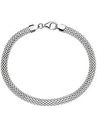 "925 Sterling Silver Italian 5mm Mesh Link Chain Bracelet for Women, 7""-7.5""-8"""