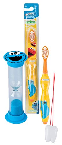 """Sesame Street """"Cookie Monster"""" Inspired 2pc Bright Smile Oral Hygiene Set! Includes Soft Manual Toothbrush & Brushing Timer! Plus Bonus """"Remember to Brush"""" Visual Aid!"""