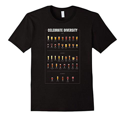 Mens Celebrate Diversity Beer Glass Custom Printed Graphic Tee XL - Glasses Printed Custom