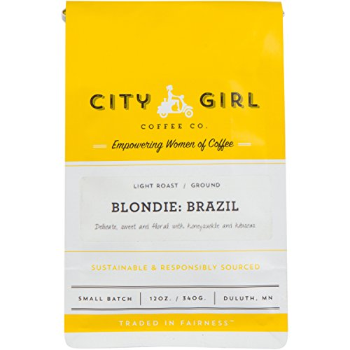 City Girl Coffee 'Blondie Brazil' Single Origin GROUND, Light Roast, 12 oz Resealable Bag, Sourced from Women-Owned Farms ()