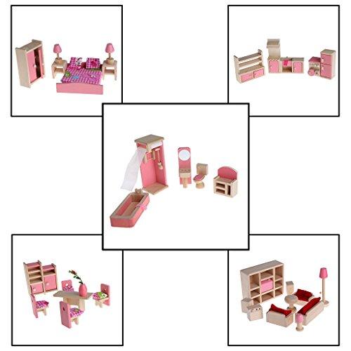 UKnows Dollhouse Furniture Kid Toy Bathroom Kid Room Bedroom Kitchen Set