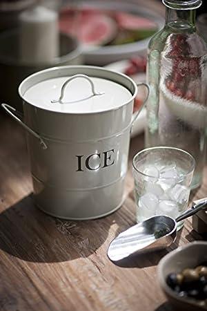 CKB Ltd®, cubo de para servir hielo tradicional de acero, con soporte para pala y asas de transporte, para interiores y exteriores, retro, chic vintage, de color blanco con recubrimiento empolvado