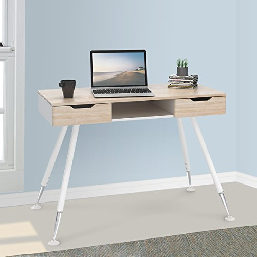 DEVAISE Home Office Computer Desk with Sliding Side Drawers / Oak by DEVAISE