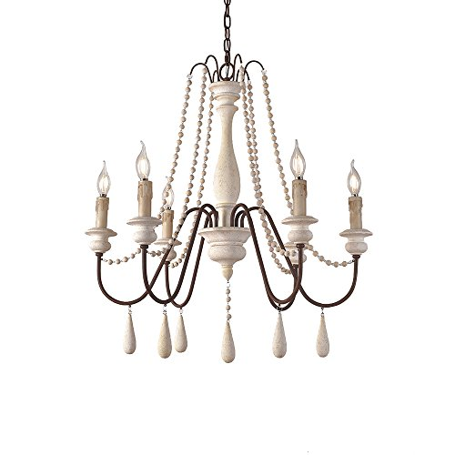 JinYuZe Ceiling Light Fixture,French Country Candle-Style Wood Bead Swag 1-Tier 2-Tier Wooden Chandelier,6 Lights,White