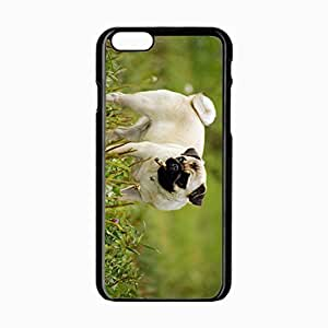 iPhone 6 Black Hardshell Case 4.7inch pug dog puppy grass herbs Desin Images Protector Back Cover