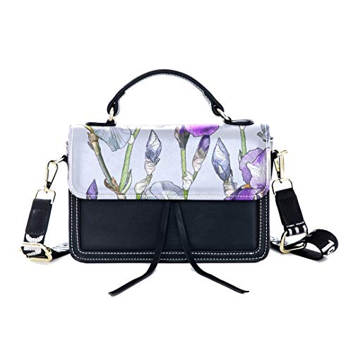 Fashion Unique Handbag Iris Hand Painted Vintage Spring Print Shoulder Bag Top Handle Tote Flap Over Satchel Purses Crossbody Bags Messenger Bags For Women Ladies