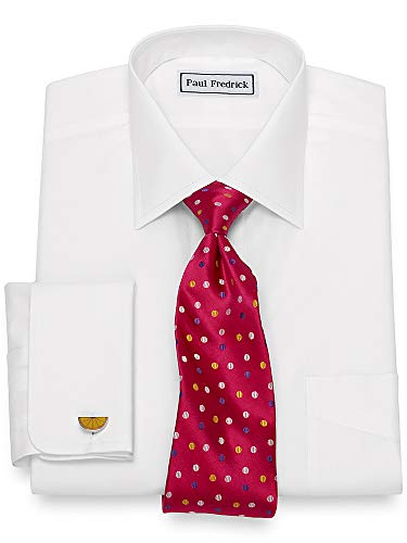 - Paul Fredrick Men's Slim Fit Non-Iron Supima Cotton Windsor Spread Collar White 15.0/32
