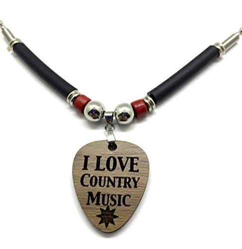 "I Love Country Music Guitar Pick Necklace. Engraved Walnut Hardwood 1/8"" thick Pick Pendant. Perfect for country Music fans"