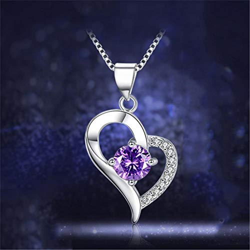 Fancy Purple and Clear Rhinestone Pendant Leaning Heart 925 Sterling Silver (Fancy Cabochon 925 Silver Pendant)