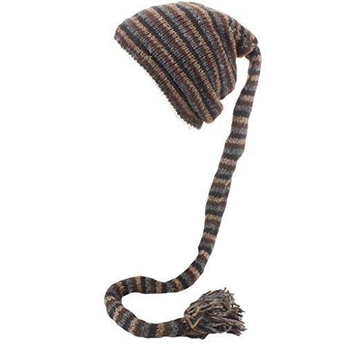 Loud de para hombre Brown Grey Rayas punto Gorro Hats Black gCwxPZqrgR