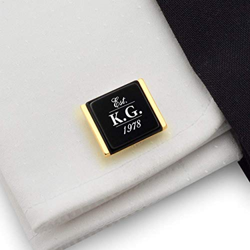 - Birthday gifts for husband from wife - Custom gold cufflinks Initial Date 925 Silver 14K gold plated Balck Onyx stone | FREE Gift Messaged, Box | Handmade
