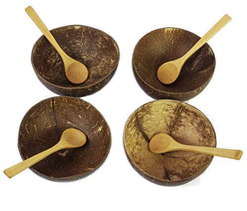 (Coconut Bowls with Spoons by BeeGreeny (Set of 4) - Polished With Coconut Oil - Handmade, Vegan, Natural, Eco Friendly, Reusable Bowl for Breakfast, Serving, Decoration, Party)