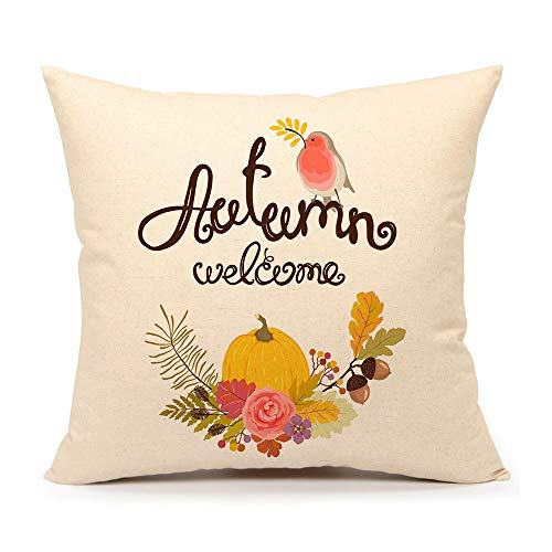 4TH Emotion Autumn Welcome Throw Pillow Cover Fall Pumpkin Cushion Case for Sofa Couch 18 x 18 Inch Cotton Linen