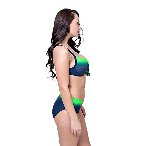 WANGXN Womens Split Swimsuit Bikini Gradiente de gran tamaño Push Alto Green