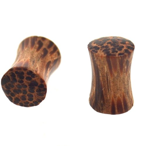 (Pair of Organic Coconut Palm Wood Ear Plugs Saddle-Fit Gauges - 4 Gauge (4G-5MM))