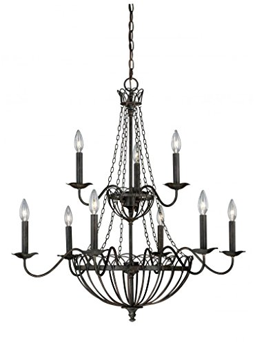 Vaxcel H0059 Novara 9 Light Chandelier, 32