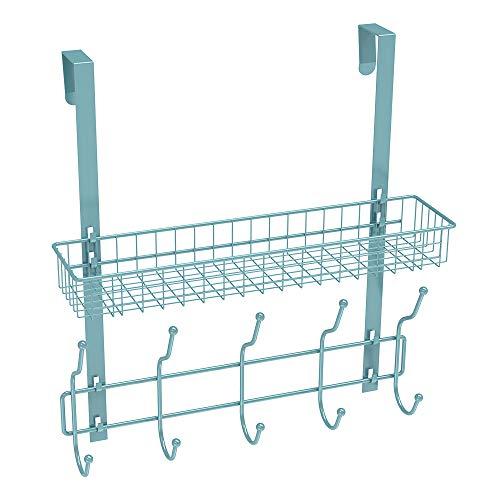 NEX Upgrade Over The Door Hook Shelf Organizer 5 Hooks with Basket Storage Rack for Coats & Towels (Auqa Blue)