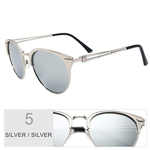 UV400 lente Sunglasses Marco mujer de mujer Atrás de aleación Silver de TL sol Gato Polaroid de Brown gafas Gafas de Ojo de oro RdvpwxZOq