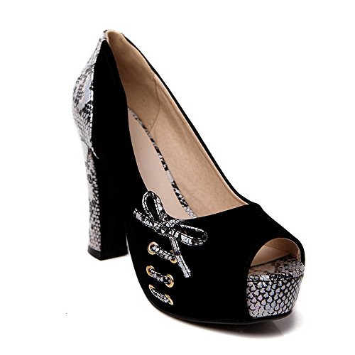 BalaMasa Womens Cobra Spun Gold Bowknot Platform Black Imitated Leather Pumps-Shoes – 5 B(M) US Review