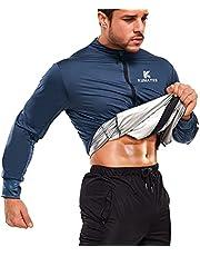 KUMAYES Sauna Suit for Men Sweat Sauna Jacket Workout Tops Long Sleeve Shirt Zipper Slim Body Shaper Thumb Hole Sweat Suits