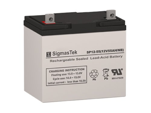 SigmasTek SP12-55 NB - 12V 55AH NB SLA Battery - Compatible with: Pride Jazzy 614 , 614HD, Jet 2 HD, 614HD, 600 XL, Universal Power UB12550 (45825), Invacare m94, M91, Xterra GT by SigmasTek