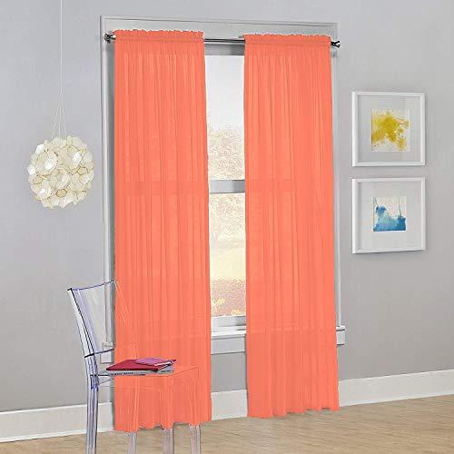 "Decotex Set of 2 Sheer Voile Transparent Window Panel Curtain Drapes (54"" W X 84"" L, Salmon)"