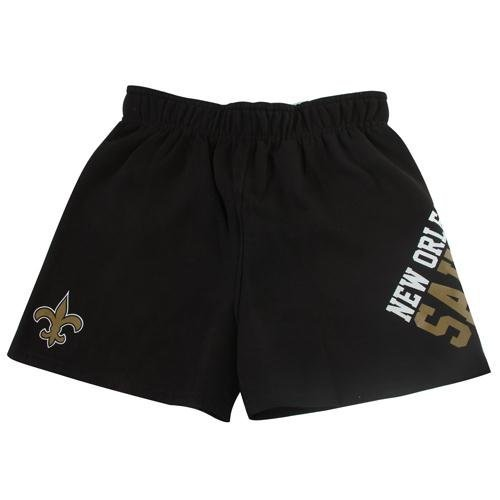 - NFL Reebok New Orleans Saints Youth Girls Roll Over Gym Shorts - Black (Yth L)