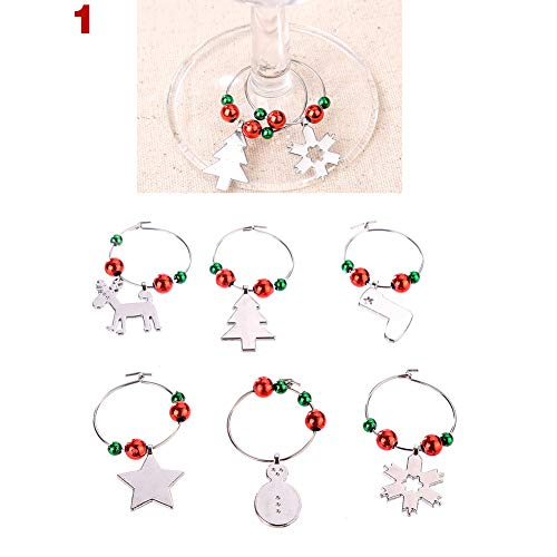 Adealink Wine Glass Charms Set Christmas Cup Rings Kit Xmas Drink Markers Tags Party Favors Pendant