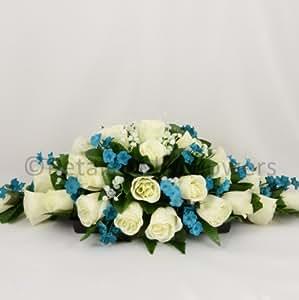 Diseño de flores de boda Artificial de mano-fabricado por pétalos Polly, Thomas Frederick acuerdo, crema/marfil/azul