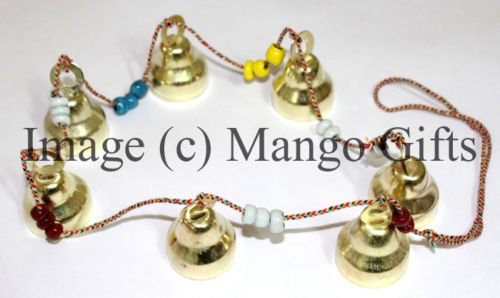 Tinkling Sound 7 Metal Bell Hanging String Indian Decor by Mango Gifts